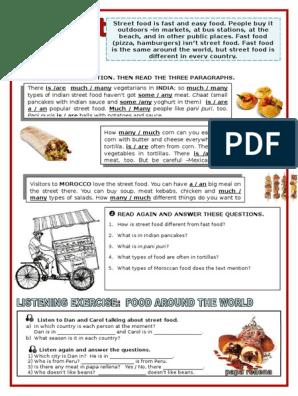 English Activity Fast Food Foods