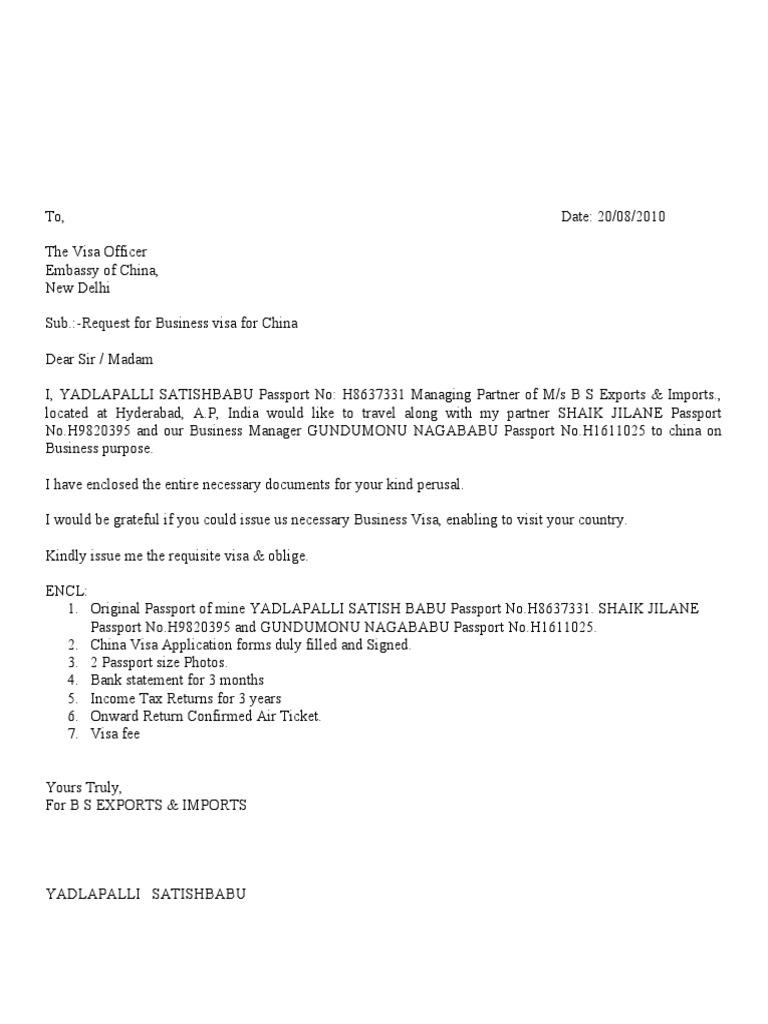 Y Satish Babu China Visa Covering Letter