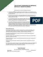 Diferencias de los estados financieros comerciales, industriales y de servicios