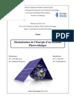 Maximisation de L_energie D_un Système Photovoltaique.