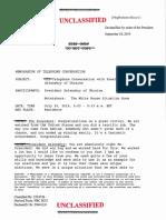 Unclassified memorandum of telephone conversation