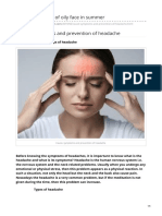 Cause, Symptoms and Prevention of Headache