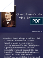 Opera Literară a Lui Mihai Eminescu