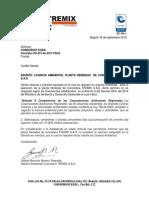 Oficio Licencia Ambiental de Concretera Tremix - Nereidas.- KODA