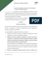 Criterios generales para la recepción y evaluación de actividades