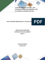 FASE 3. REGISTRAR TIEMPOS REALES Y CALCULAR TIEMPO ESTÁNDAR