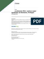 Olivi Lectura Super Epistolam Ad Romanos Introduction (Boureau)
