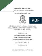 Metodos de Ensayo Para La Determinacion de Las Principales Propiedades Dinamicas en Los Suelos de El Salvador