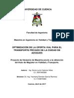 Optimizacion de La Oferta Vial Para El Transporte Privado de La Ciudad de Azogues