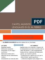 Canto, Mundos y Lenguajes en El Martin Fierro