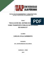 Regulacion Del Sistema de Mototaxi Como Transporte Publico en La Ciudad de Huanuco