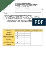 Examen Diagnostico Tercer Grado 2019 – 2020