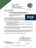 DM_SGOD-SMME No. 202, s. 2019 (Administration of EPT for Teacher Applicants)