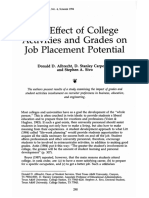 1994-Albrecht-The Effect of College Activities and Grades on Job Placement Potential