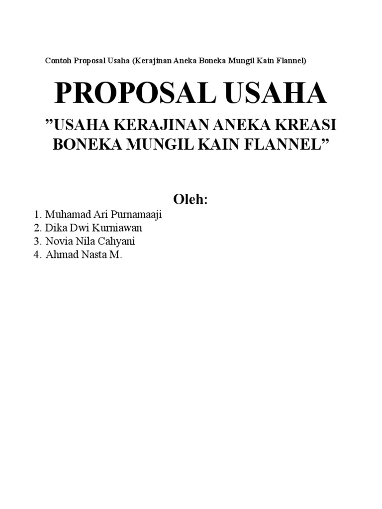 Proposal Usaha Usaha Kerajinan Aneka Kreasi Boneka Mungil Kain Flannel