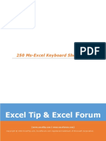 250 Ms-Excel Keyboard Shortcuts