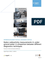 Radon Radioactivity Measurements in Underground Water a Comparison Between Different Diagnostics Techniques