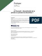 Leportique 635-13-14 Michel Foucault Discontinuite de La Pensee Ou Pensee Du nu