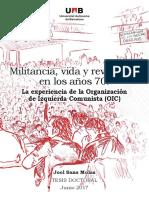Militancia, vida y revolución  en los años 70