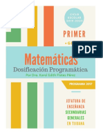 Dosificación Matemáticas Primer Grado (Programa 2017) Ciclo Escolar 2019-2020