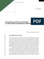 Sociologia da crítica, instituições e o novo modo de dominação gestionário