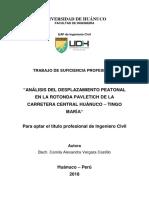 Analisis Del Desplazamiento Peatonal en La Rotonda Pavletich Dela Carretera Central-hnc Tingo Maria