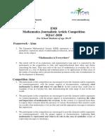 EMS Mathematics Journalistic Article Competition ANNOUNCEMENT