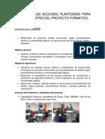 Avance de Las Acciones Planteadas Para Sennova Dentro Del Proyecto Formativo