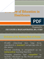 Hed- Part II Overview of Education in Healthcare