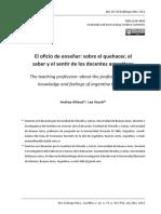 """Alliaud, A. y Vezub, L. (2012) """"El Oficio de Enseñar"""
