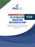 Condiciones de Vida de La Población Venezolana Que Reside en El Perú - Encuesta ENPOVE INEI 2018
