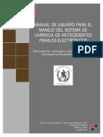 Manuel de usuario para el manejo de sistema de carencia de antecedentes penales electrónicos