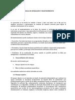 manual de operación de  PTAR