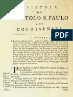 Novo Testamento Almeida 1693 - Epístola de Paulo Aos Colossenses
