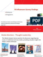 Media and PR Influencers Survey Findings August 2010