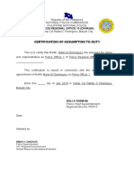 Certification of Assumption to Duty Sinag Alab (1)