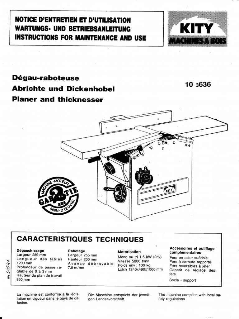 Manual for Kity 636 planer/thicknesser