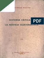 Historia Critica de La Novela en Guatemala Seymour Menton