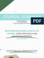 Journal Summary Week 14