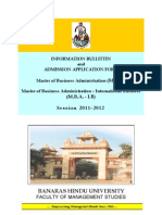 FMS BHU MBA MBA IB Application Form and Information Bulletin Session 2011-2012
