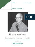 Fuentes Anónimas Una Charla Sobre Traductores y Traducción