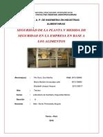 Seguridad de Plantas y Medidas de Seguridad en La Empresa en Base a Los Alimentos Trabajo Terminado Word