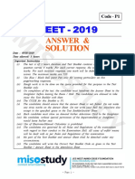NEET 2019 Answer Key Solution Code P1 by Govt