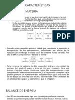 Características y Clasificación de Balance de Materia y Energia
