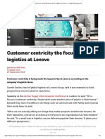 Customer Centricity the Focus for Logistics at Lenovo - Supply Management