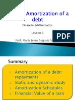 Lesson 9. Amortization of debts