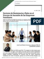 Factores de Resistencia y Éxito en El Proceso de Sucesión de Las Empresas Familiares