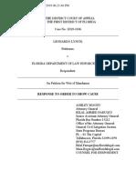 LEONARDO LYNCH v. FLORIDA DEPARTMENT OF LAW ENFORCEMENT - FL AG Moody's Response