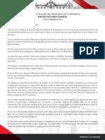 Mensaje a la Nación del presidente Martín Vizcarra donde anuncia cuestión de confianza