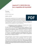 Acuerdo plenario N° 1-2019:CIJ-116- presupuestos y requisitos de la prisión preventiva